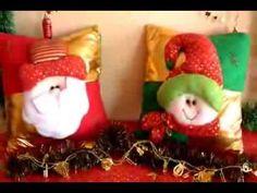 MUÑECOS NAVIDEÑOS: COJÍN SANTA CUADROS -- COJÍN NIEVE CUADROS - YouTube Xmas, Christmas Ornaments, Diy, Holiday Decor, Home Decor, Google, Youtube, Scrappy Quilts, Throw Pillows