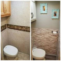 Camper Bathroom remodel I think I can get those peel and stick glass tiles and have a custom tile effect