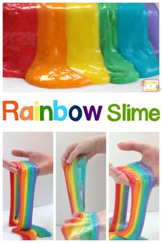 Nothing says happy like a pretty rainbow. And this amazing rainbow slime will be a HUGE hit in your science classroom, or just at home! (Diy Slime At Home) Science Experiments For Preschoolers, Science Activities For Kids, Science Classroom, Stem Activities, Mad Science, Preschool Science, Classroom Ideas, Cool Slime Recipes, Easy Slime Recipe