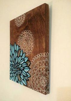 American Home Interior Mandala Mural, Mandala Painting, Mandala Design, Diy Wall Art, Wood Wall Art, Arte Pallet, Doily Art, Doilies Crafts, Dot Art Painting
