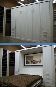 Here's the Murphy bed in our newly renovated showroom! This system is finished in our textured White Zebrine, with side cabinetry and roll-out night stands.