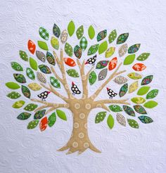 Quilted Family Tree!  Could embroider names on the leaves to personalize
