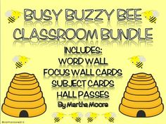 Personalized Hall Passes with Large Black Plaque for Teachers Classroom Decorations Yellow Busy Bees Theme