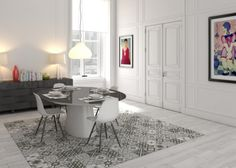 Stunning tile 'rug'. Couldn't have a better idea beneath a table. Zeinah Moroccan Tiles