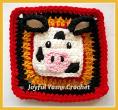 Cow Applique/Square - Free by Joyful Yarns Crochet
