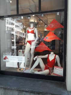 Maute-Benger GmbH storefront in Stuttgart, Germany, showcasing swimwear made with LYCRA® fiber. Take off with LYCRA® fiber!