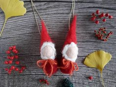 Christmas tree hanging - Xmas decoration - Waldorf gnome decor - little gift for Christmas - felted Christmas gnome - red hat gnome