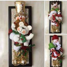 Christmas 2019 : Felt Christmas decorations on wooden frames Diy Christmas Door Decorations, Christmas Window Display, Felt Decorations, Christmas Ornaments To Make, Noel Christmas, Felt Ornaments, Christmas 2019, Christmas Wreaths, Christmas Crafts