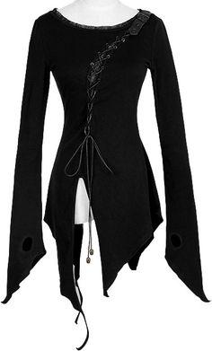 Asymmetric long-sleeve tunic top