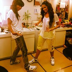 Here we have Rocsi and friend rocking a pair of the classic Air Jordan retro 4 white cement colorway. Did you cop a pair this year?