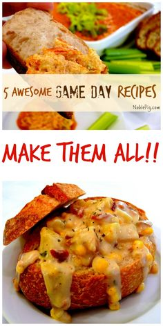 5 Totally Awesome Game Day Recipes I Make Every Year from NoblePig.com.