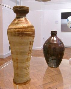 """Studio Pottery in York Art Gallery - William Staite Murray Vases (""""Anubis"""" and """"Indian Raga"""") c.1930s 