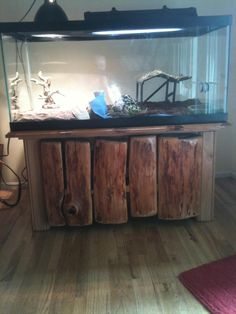 Aquarium Table with firewood decor