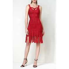 Red Tulle Fringe Bandage Dress