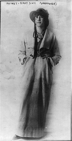 Woman in Poiret - Gray Suit (Wanamaker) - full length, standing