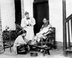 Old Photo. China. Viewing Woman's Bound Foot