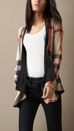 Reversible waterfall cardigan, classic check side (Burberry)