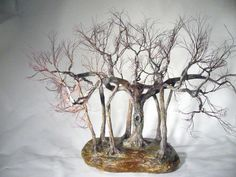 The Banian of Calcutta.  Copper wire tree - Bonsai style - Natural rock - recycled material - Wabi sabi