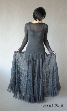 Items similar to Hand knitted mohair dress on Etsy – Knitting Fashion Sweater Knitting Patterns, Lace Knitting, Knit Dress, Dress Skirt, Knit Fashion, Diy Clothes, Rock, Knitted Hats, Autumn Fashion