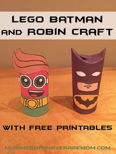 Lego Batman and Robin toilet paper craft idea for kids