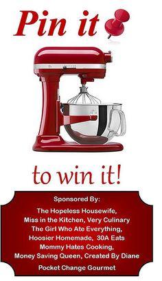 Pin it to WIN it KitchenAid Mixer Giveaway @createdbydiane