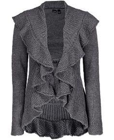 ruffle-front-cardigan-sweater