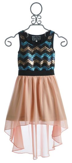 The Collection Chevron Sequin Tween Boutique Dress $88.00