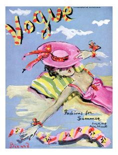 Vogue Cover - June 1939 - Sun Bathing Poster Print by Christian Berard at the Condé Nast Collection Vogue Magazine Covers, Fashion Magazine Cover, Fashion Cover, Magazine Art, Vogue Vintage, Vintage Vogue Covers, Collage Poster, Poster Prints, Art Posters