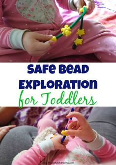 Safe Bead Exploration for Toddlers - Homemade Toy : Safe Bead Exploration for Toddlers - Homemade Toy Great for sensory and fine motor skills this safe homemade beading toy will delight your toddler! Start introducing it as young as 12 to 18 months old. Young Toddler Activities, Preschool Kids Games, Kids Travel Activities, Indoor Activities For Kids, Toddler Fun, Infant Activities, Motor Activities, Homemade Toys, Baby Play