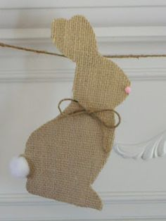 Burlap Easter Bunny Silhouette Bonnie and Trish Uncommon Designs Spring Crafts, Holiday Crafts, Holiday Fun, Bunny Crafts, Easter Crafts, Easter Decor, Easter Ideas, Easter Garland, Easter Burlap Banner