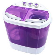 KUPPET Mini 9lbs Portable Washing Machine & Spin Dryer Compact Durable Design To Wash All your Laundry Twin Tub Washer, for Apartments, Dorms, RV Camping Swim Suit Spinner Dryer (Purple)