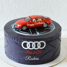 Audi Sports Car Birthday Cake With Logo For Car Lover