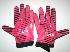 54266be10 Demario Davis New York Jets 2012 Rookie Game Worn   Signed Pink   Black  Breast Cancer Awareness Nike Gloves - Worn Vs Houston Texans on Monday  Night ...