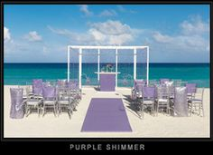 Purple Shimmer Collection: Sheer Fabric Lattice in purple hues with the upholstered runway-style Aisle is perfect for those brides wanting to create the wow factor for their special day.