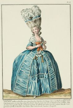 'Galerie des Modes' (1778) – young lady coiffed with a Herisson with two curls, not touching, on each side, and with a Queen's Pouf trimmed with a black tuft and girded with a blue satin ribbon, in the coque is a rose and crescent of diamonds. She is dressed in a grand ceremonial gown on a hoop, of brocaded Indian taffeta in sky blue; matching trim. Wearing one chatelaine at each side. Shod with a white shoe edged with pink, English buckles.