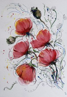 Other – ORIGINAL painting Poppies painting Poppies art – a unique product by Radikacolours on DaWanda