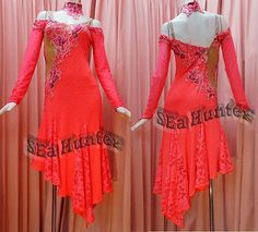 Competition Ballroom Latin Ramba Cha Cha Dance Dress US 8 UK 10 Two Pink Lace