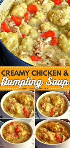 Looking for the best comfort meal for dinner? Try this Chicken and Dumpling Soup recipe! This delicious food recipe is made with creamy broth, succulent rotisserie chicken, sweet carrots, and light fluffy dumplings. Pin this homemade recipe for later! Chili Recipes, Soup Recipes, Chicken Recipes, Cooking Recipes, Family Recipes, Yummy Recipes, Chicken Dumpling Soup, Dumplings For Soup
