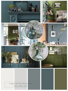 I love this Farrow and Ball colour palette of grey blues and the stunning olive green - Bancha. These colours combine to create a calm, serene look - choose one dominant colour, add the second as an accent and use blue/grey neutrals. Olive Living Rooms, Blue And Green Living Room, Green Dining Room, Dining Room Colors, Green Rooms, Farrow And Ball Living Room, Accent Walls In Living Room, Living Room Color Schemes, Paint Colors For Living Room