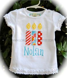 Personalized Birthday Shirt Candle T tee Shirt or Onesie Up to 6 candles Boys or Girls Child's $24