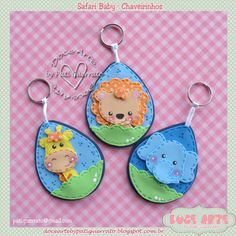 Doce Arte by Pati Guerrato: Maternidade - Safari baby Foam Crafts, Diy And Crafts, Arts And Crafts, Baby Tiara, Elephant Keychain, Felt Finger Puppets, Elephant Art, Monster Party, Toy Craft