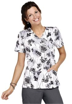 Landau Field Flowers mock-wrap print scrub top. - Scrubs and Beyond #scrubs #uniforms #nurse