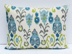 Decorative Throw Pillows  Lumbar Pillow Cover Burlap Pillow Cover Ikat Pillow Travel Pillow ONE 12x16 Printed Fabric both sides