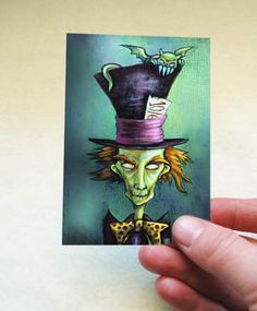 Mad Hatter ACEO- Alice in Wonderland Artist Trading Card - Zombie Fantasy Art Print