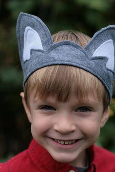 Kindes fühlte Wolf Ohren graue Wolf-Krone von Whimsywerks auf Etsy