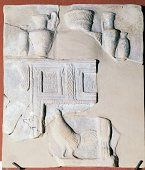Terracotta relief (pinax) depicting furniture and objects for worship of goddess Persephone, found in Temple of Persephone, 470-450 BC, Locri, Calabria, Italy, Magno-Grecian civilization, 5th century BC