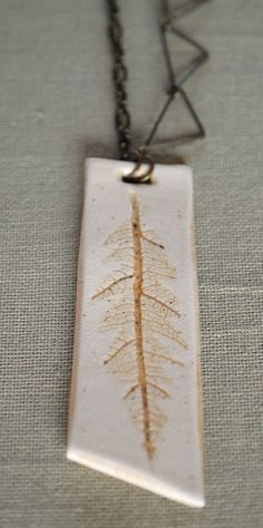 Porcelain Feather Pendant Necklace