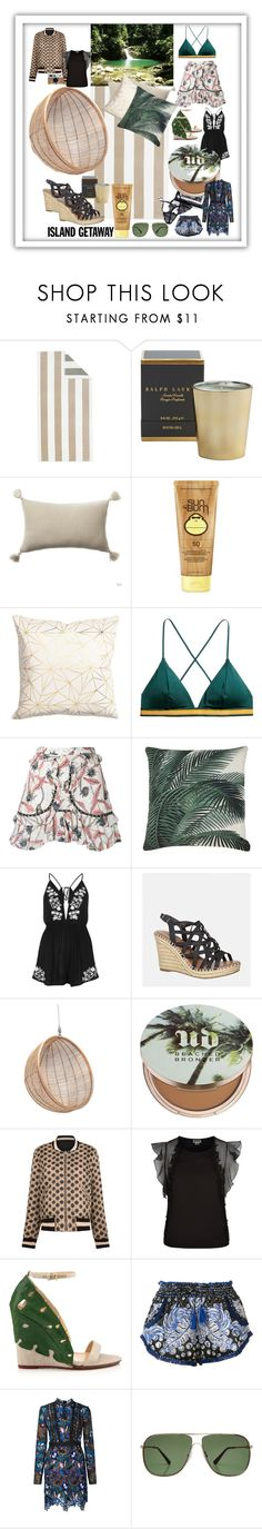 """""""#Beach #life #Trinidad and #Tobago #beautifultravel #dream #vacation #green #tropical #Caribbean #neutral #pallette #dreamhouse"""" by cielshopinteriors ❤ liked on Polyvore featuring Pottery Barn, Ralph Lauren Home, Hermès, Sun Bum, Ciel, Isabel Marant, River Island, Avenue, Urban Decay and Étoile Isabel Marant"""