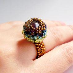 手作りビ-ズリング 天然石 アメジストの通販 by Beads Jewelry|フリル