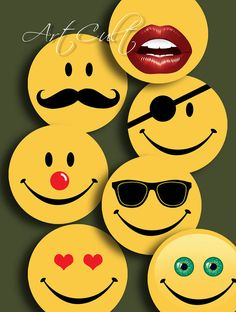 FUNNY SMILEY FACES - Digital Collage Sheet 1 inch and 1.5 inch  size Printable download images for pendants, magnets, bottlecaps on Etsy, $4.60